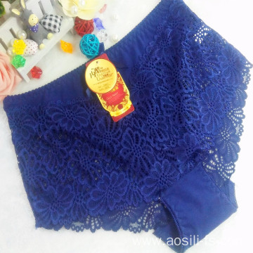 OEM wholesale stylish blue sexy plus size lace cotton fancy panty 5861