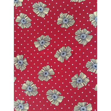 Dots Flower Design Polyester Bubble Crepe Printing Fabric