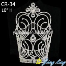 Large Snowflower Rhinestone Silver Plated Crown