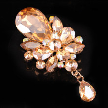 Gold Crystal Water Drop Bridal Wedding Pin