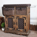 Wooden folding ironing board with storage cabinet and wicker drawer