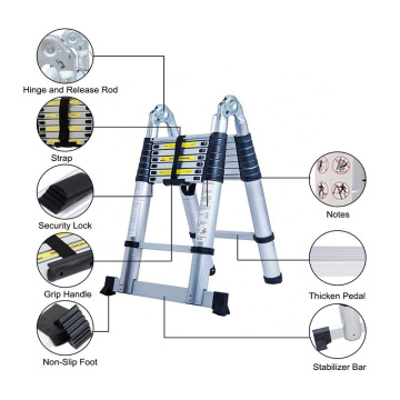 Aluminum loft folding double telescopic ladder