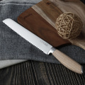 8 INCH BREAD KNIFE WITH PAKKA WOOD HANDLE