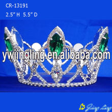 Green Rhinestone Round Beauty Queen Crowns