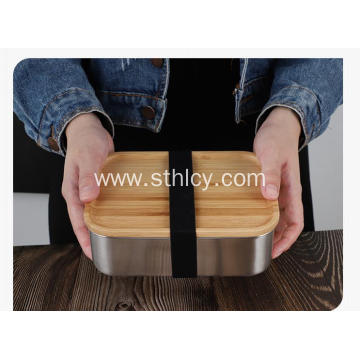 304 Stainless Steel Wooden Cover Lunch Box