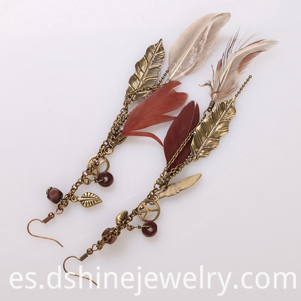 Long Feather Earrings With Peace Charms