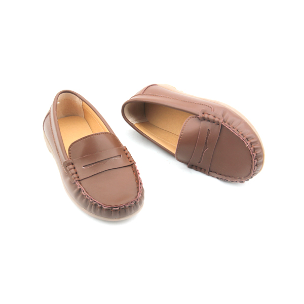 Wholesales Rubber Sole Leather Boat Shoes Kids Casual Shoes
