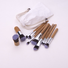 Holzgriff Make-up Pinsel Set mit Stoffbeutel