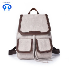 Literary style backpack with cotton shoulder bag