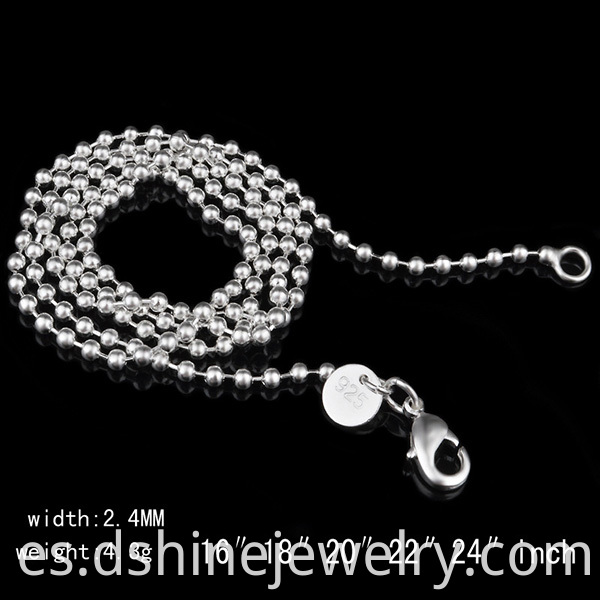 Mens Stainless Steel Unisex Beaded Ball Chain Necklace