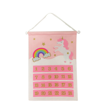 Pink unicorn christmas advent calendar