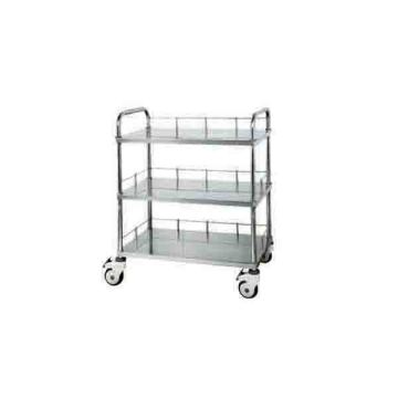 Stainless steel three-layer equipment trolley