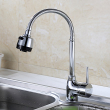 Chrome Flexible Spout Single Handle Kitchen Faucet