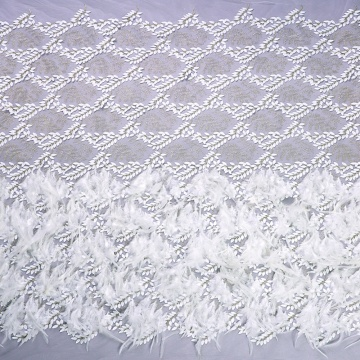 Luxury Beaded Wedding Lace Fabric Handwork