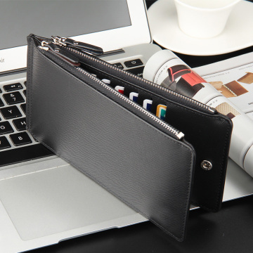 Rfid Zip Pocket Leather Credit Card Holder Case