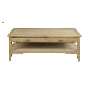 Yellow Solid Wood Coffee Table With Two Drawers