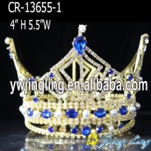 Gold Plated Sapphire Rhinestone Pear Full Round Crown