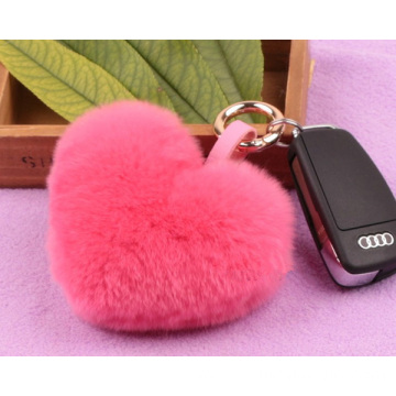 Fur Bag Genuine Rex Rabbit Heart Shape Fur Ball Key Chain