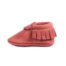 Custom Pink Color Toddler Soft Leather Baby Moccasins