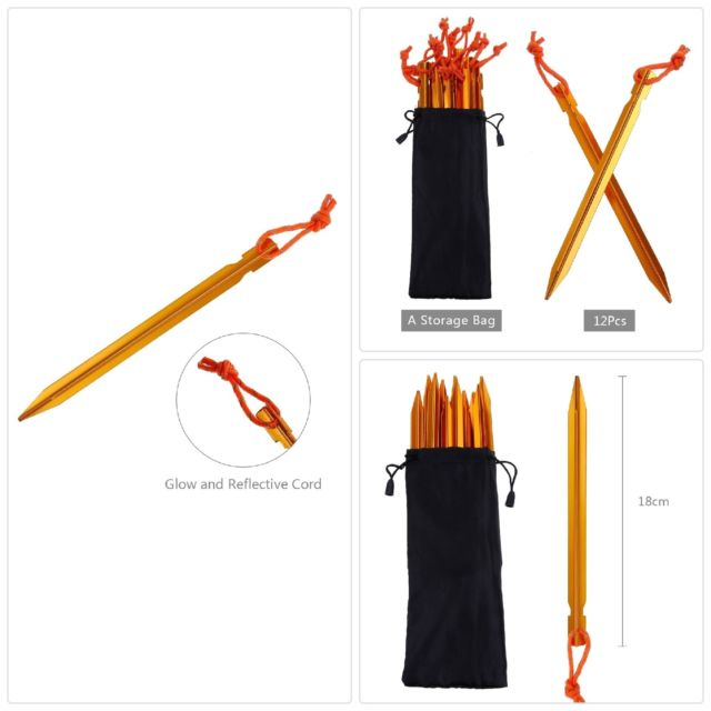 Aluminum Tent Stakes Pegs Pack