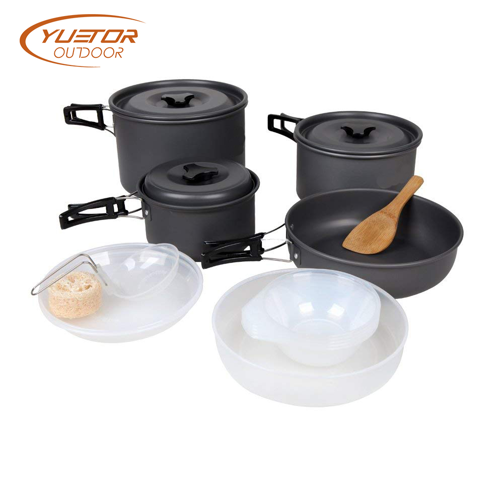14PCS Lightweight Hard Anodized Camping Cooking Gear