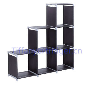 3 tiers Storage Cube Closet Organizer Shelf 6-cube Cabinet Bookcase Black