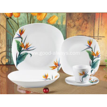 20 Piece Square Porcelain Dinner Set Tropical Flower