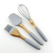 3PCS Silicone Cooking Utensils With Beech Wood Handle