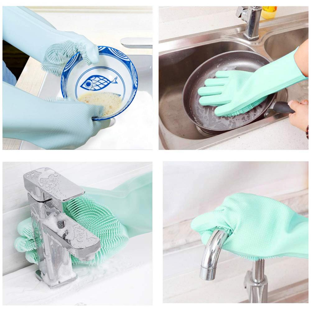 Silicone Dishwashing Cleaning Gloves with Wash Scrubber