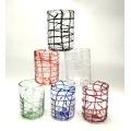 Decorative colorfule wire warp pattern glass cups for candle