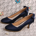 Navy Blue Satin Shoes Wedding Mid Heels