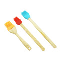 silicone BBQ baking brush with wood handle
