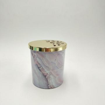 Gold decorative metal lid marble glass scented candle jar