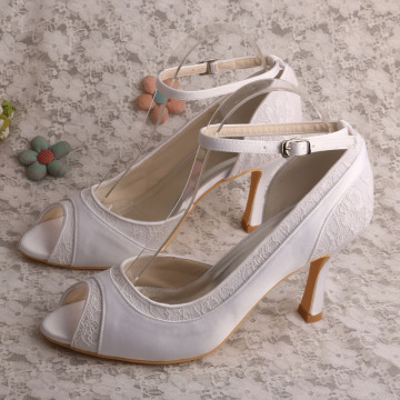 Amazon Ivory Peep Toe Shoes Bride Pumps with Ankle Strap