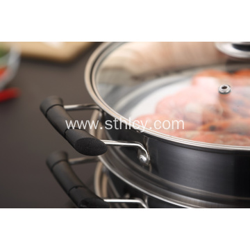 2 Layer Stainless Steel Steamer Pot Soup Pot