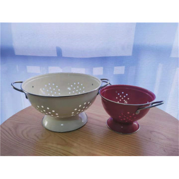 Enamel Steel Kitchen Colander Set 2