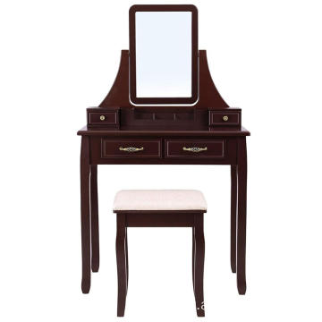 New Vintage Design Modern Bedroom Furniture Wooden Makeup Vanity Dressing Table With Mirror