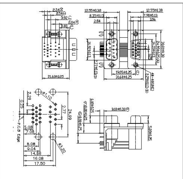 D-SUB PCB Dual Port Right Angle type China Manufacturer