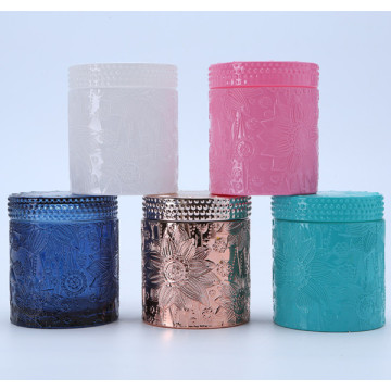 Colored Lotus Pattern Crystal Glass Jar For Candy/Candle