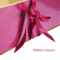 Ribbon closure apparel packaging box