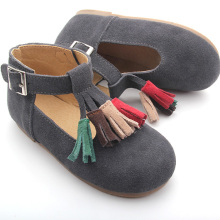 Wholesale Rubber Sole Leather Children T-bar Shoes
