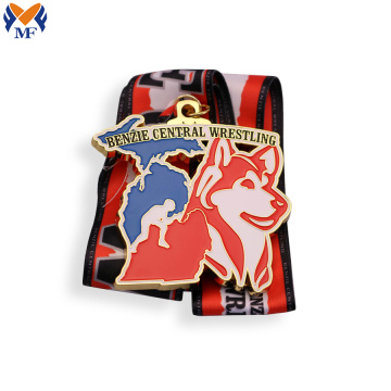 Custom enamel wrestling medals for sale
