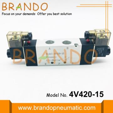 Pneumatic Solenoid Valve 4V420-15 With Double Coils