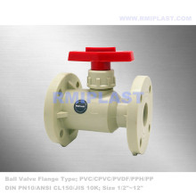PPH Ball Valve Flange End Lever Handle