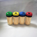 Color Lid Cover Bamboo Toothpick Round Bottle