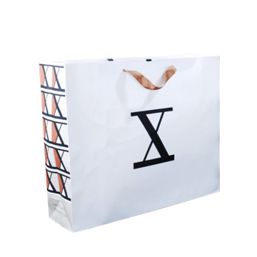Customize promotional white kraft paper shopping gift bags