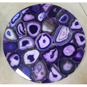 semi precious stone purple agate side table