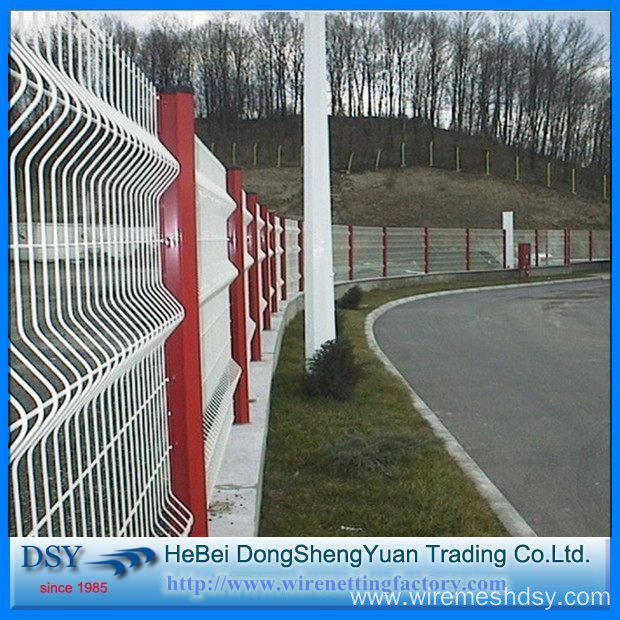 PVC Coated Triangular Curved Welded Wire Mesh Fence