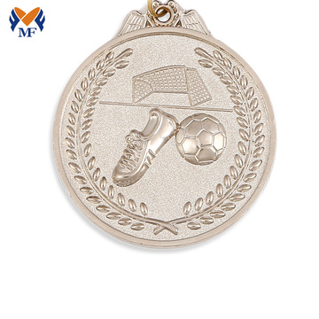 Custom sports football ribbon silver medals