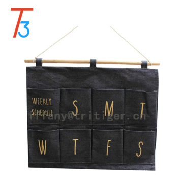 fashion hot sale hanging fabric 100% cotton wall storage organizer for dormitory